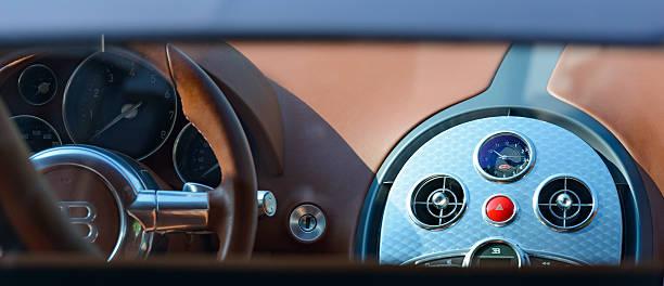 Bugatti Veyron interior detail stock photo