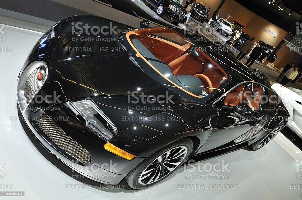 Bugatti Veyron Sang Noir supercar front view stock photo