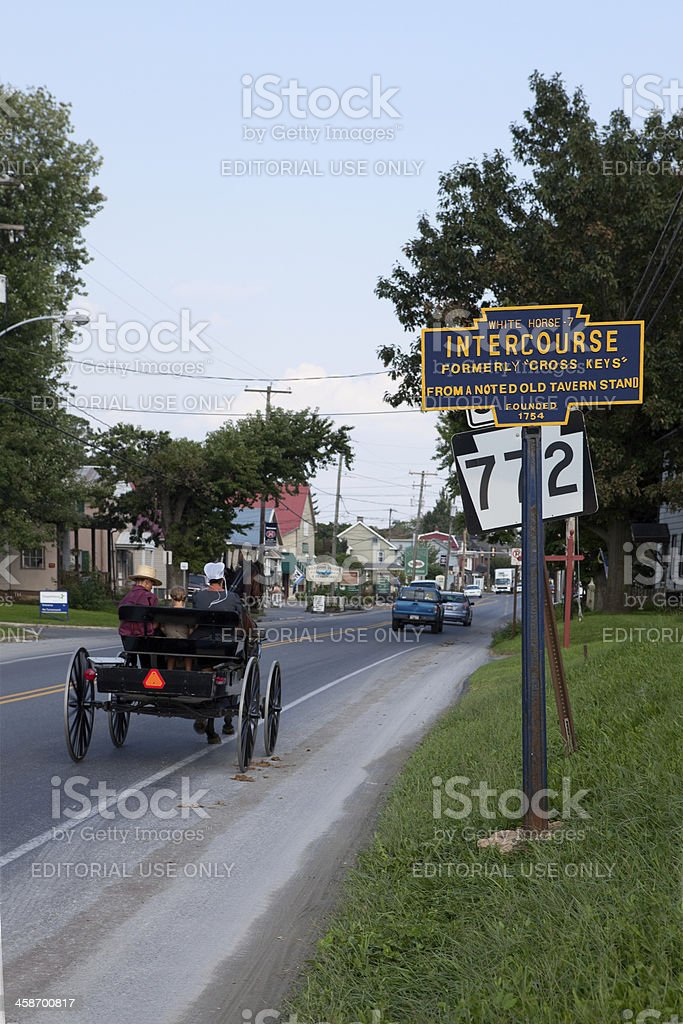 Buggy and Sign for Intercourse, PA royalty-free stock photo