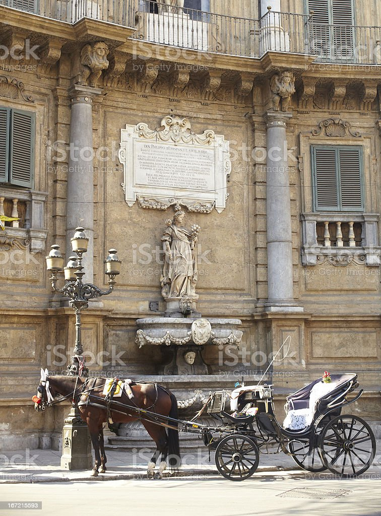 Buggy in the Quattro Canti, Palermo royalty-free stock photo