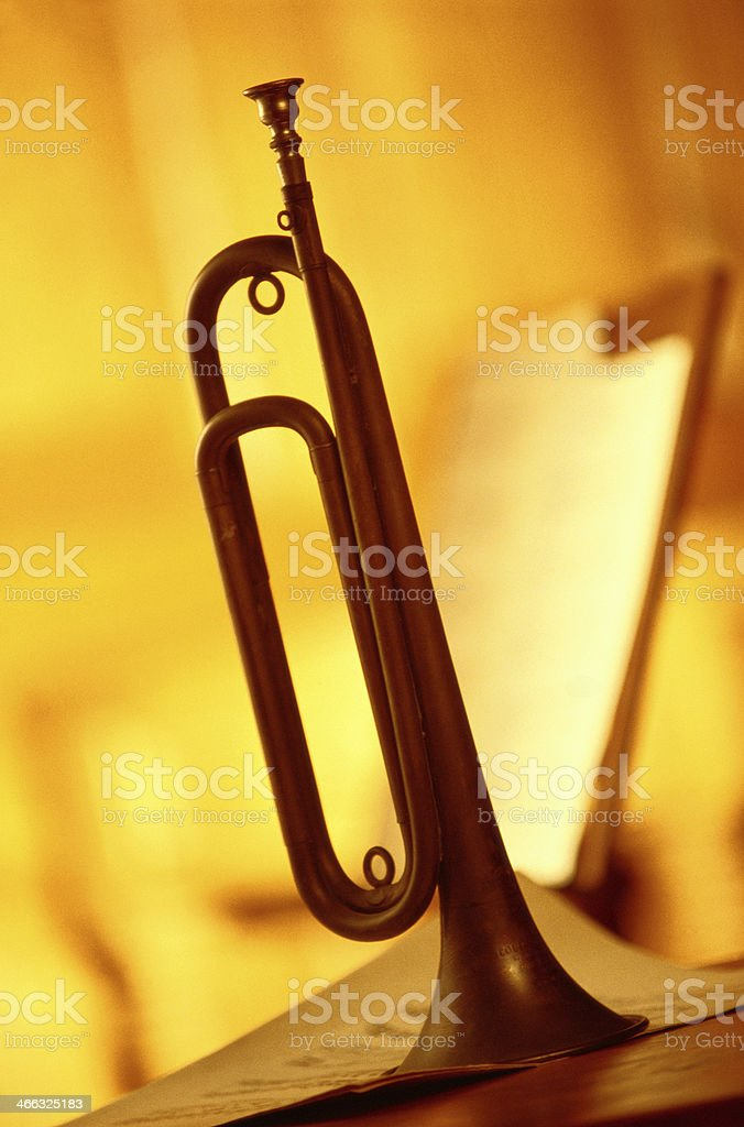 Bugle with music sheet. royalty-free stock photo