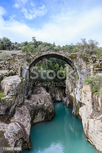 A view of Bugrum Bridge, an example of Roman engineering, which spans Kocadere stream in Koprulu Canyon National Park in the province of Antalya, south western Turkey.
