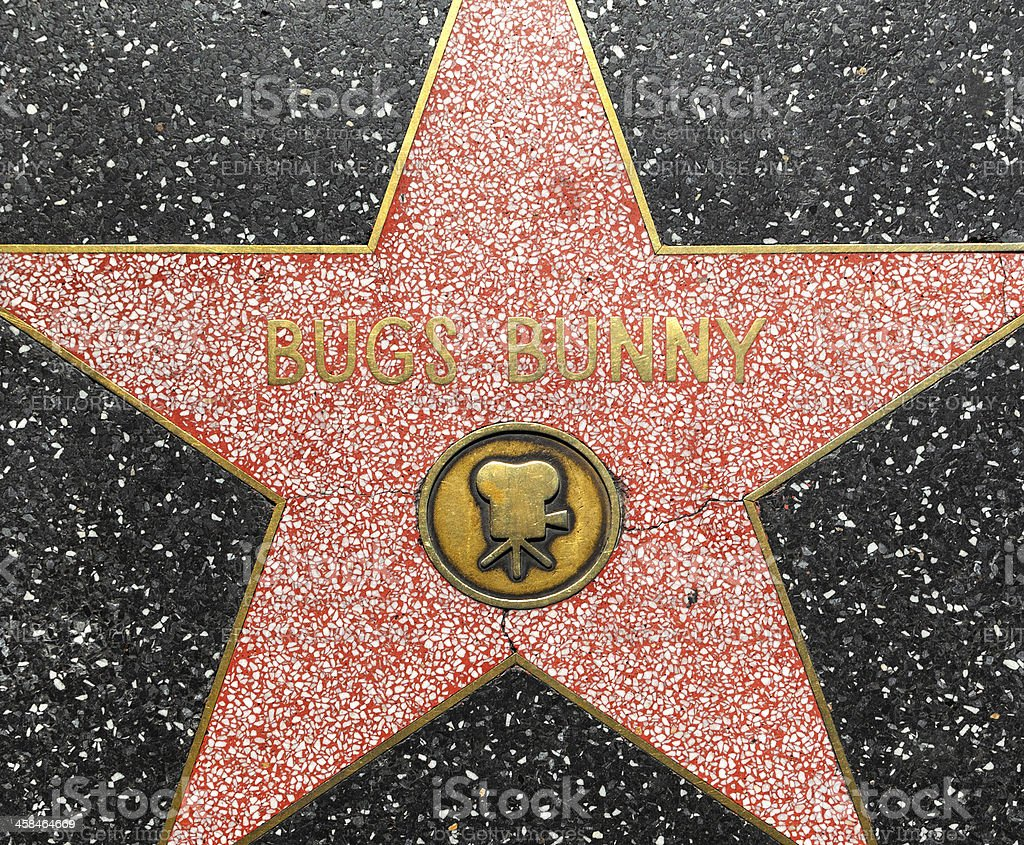 Bugs Bunnys star on Hollywood Walk of Fame stock photo