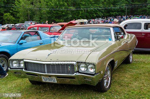 Moncton, New Brunswick, Canada - July 9, 2016 : 1968 Buick Skylark Custom convertible parked in Centennial Park during 2016 Atlantic Nationals, Moncton, New Brunswick, Canada