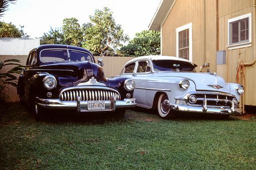 Honululu, USA, February 4, 1989 - 1947 Buick Super Eight and 1953 Chevrolet Bel Air seen in Honolulu Hawaii