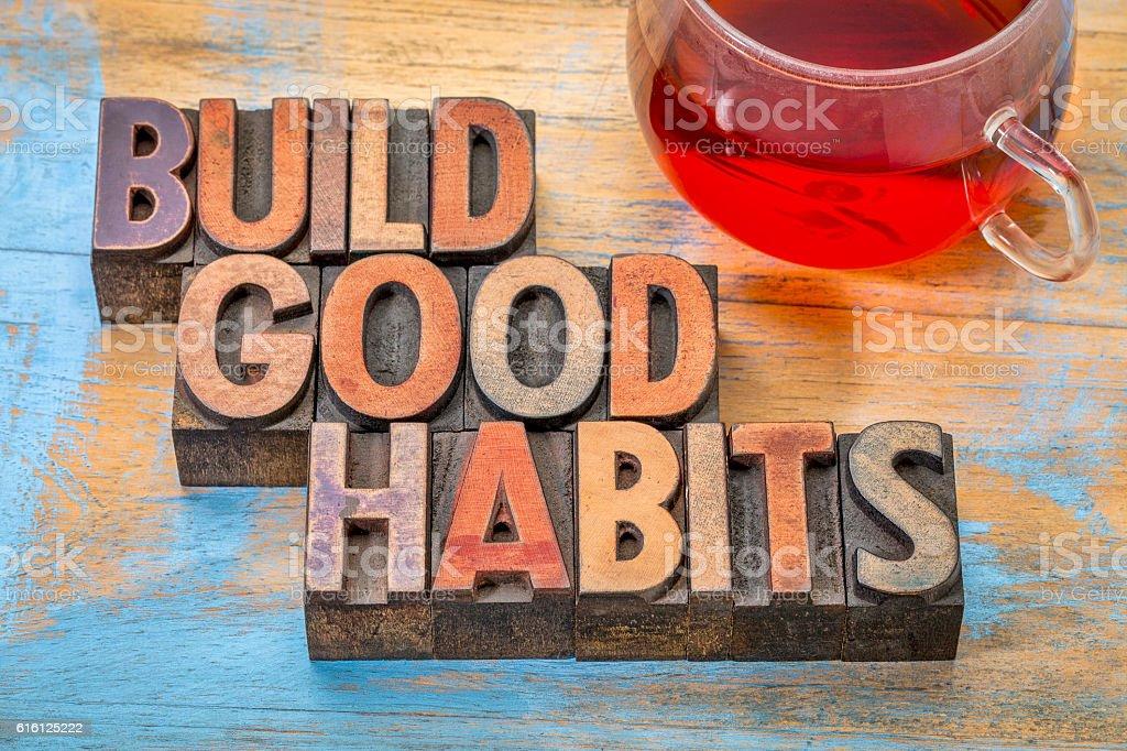 buid good habits motivational concept stock photo