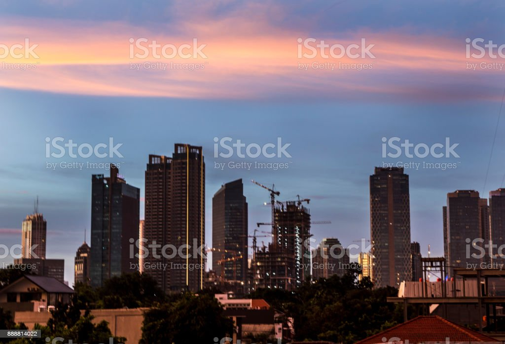 Buiding view from south jakarta cityscape in afternoon stock photo