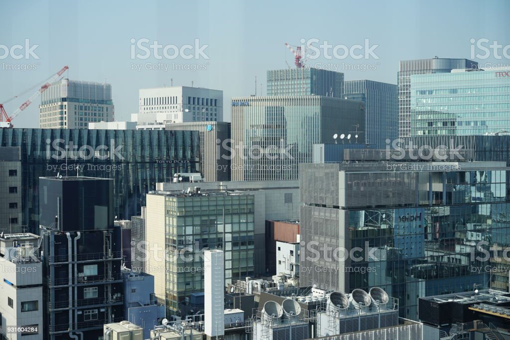 Buidings in Ginza of Tokyo stock photo