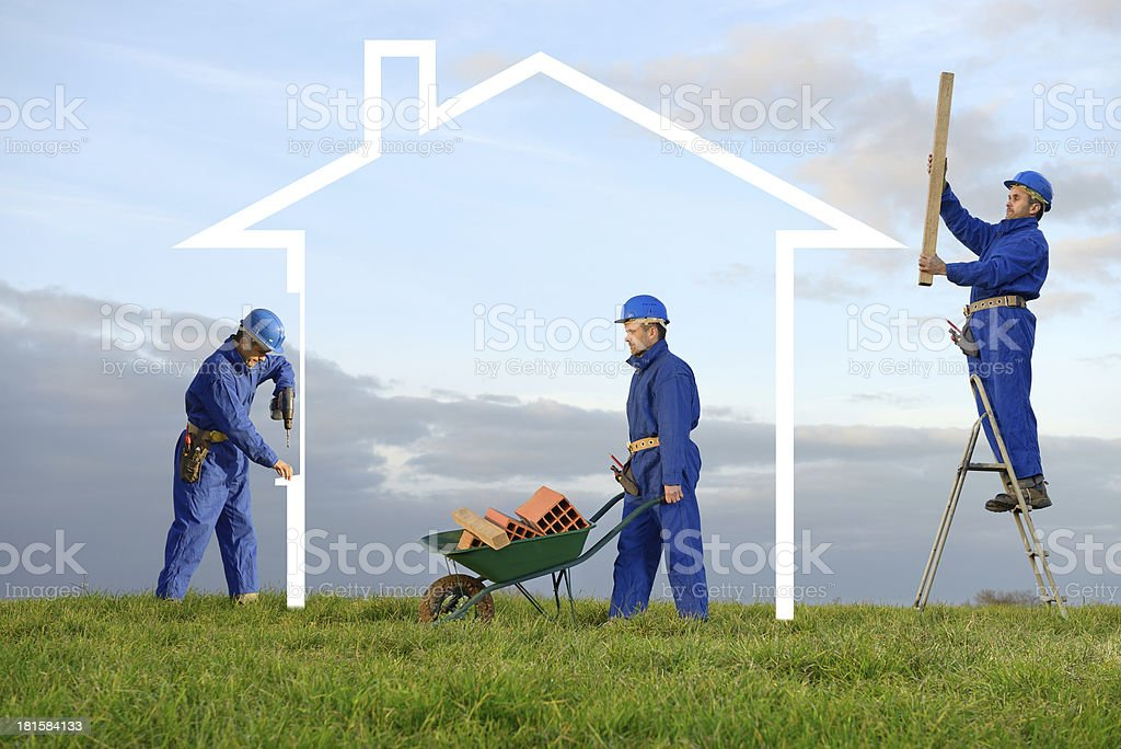 build house two stock photo