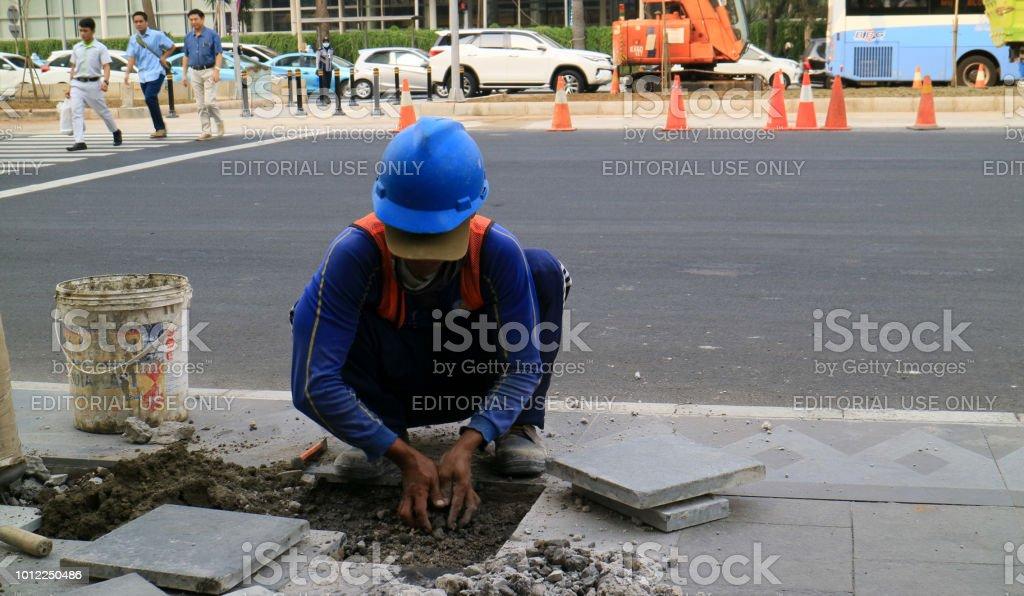 Build sidewalk stock photo
