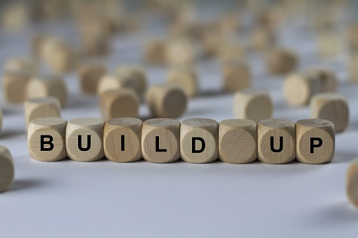Build Up Cube With Letters Sign With Wooden Cubes Stock Photo - Download Image Now