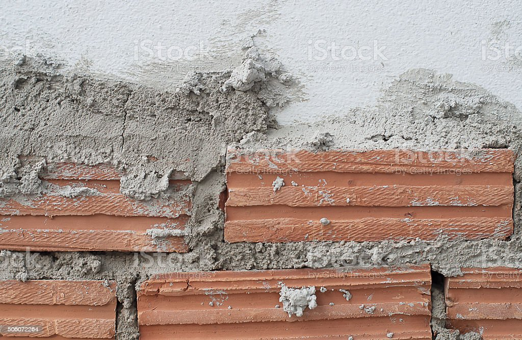 Build Wall And Fence From Clay Brick Stock Photo - Download Image