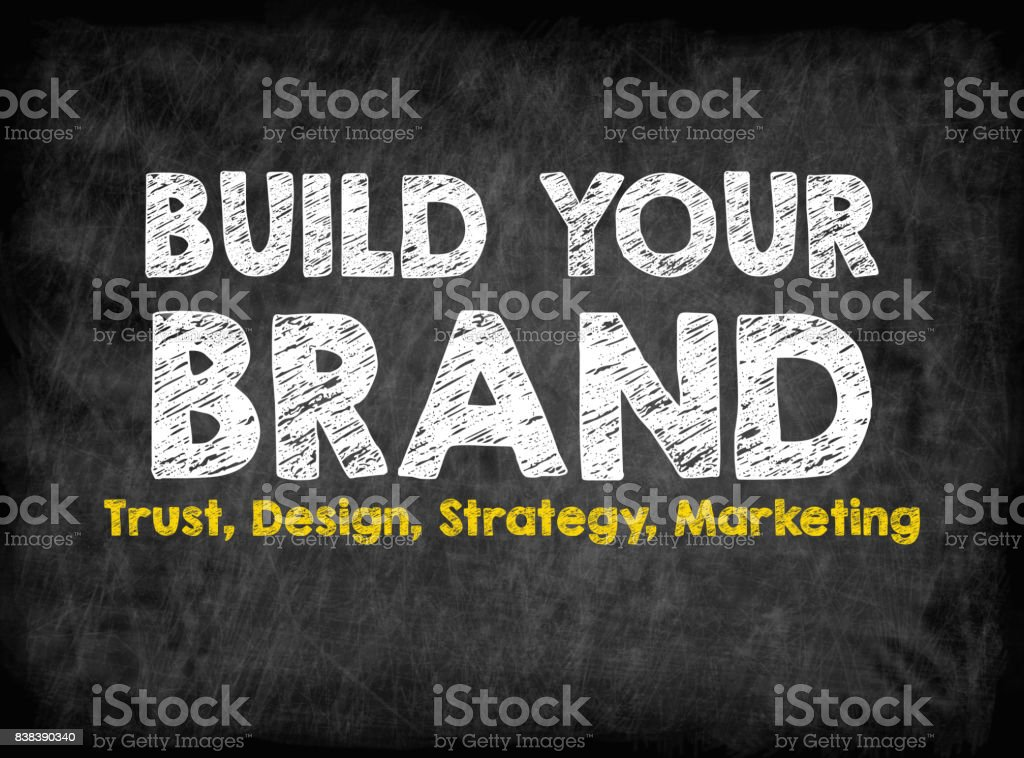 Build Your Brand concept. Black board with texture, background stock photo