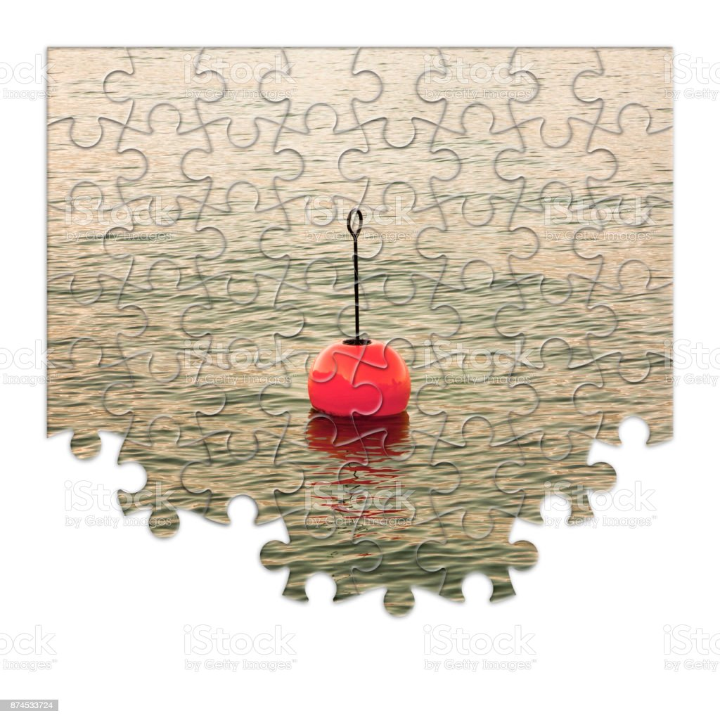 Build your security step by step - Concept image, with red bouy on a calm lake, in jigsaw puzzle shape' stock photo
