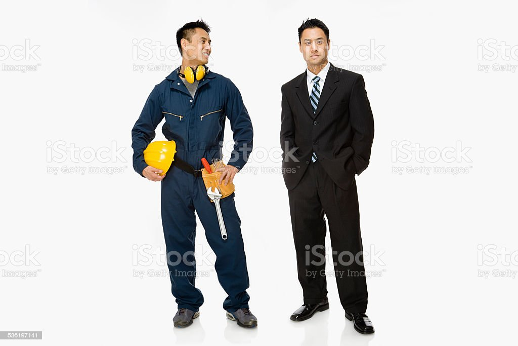 Builder and businessman stock photo