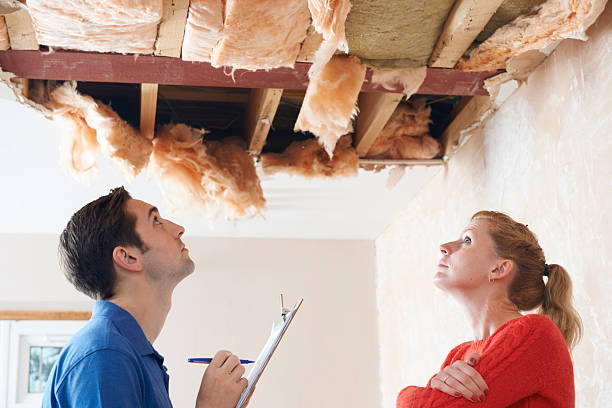 builder and client inspecting roof damage - damaged stock photos and pictures