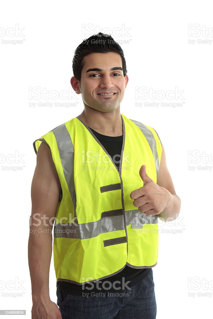 Builder construction worker thumbs up royalty-free stock photo