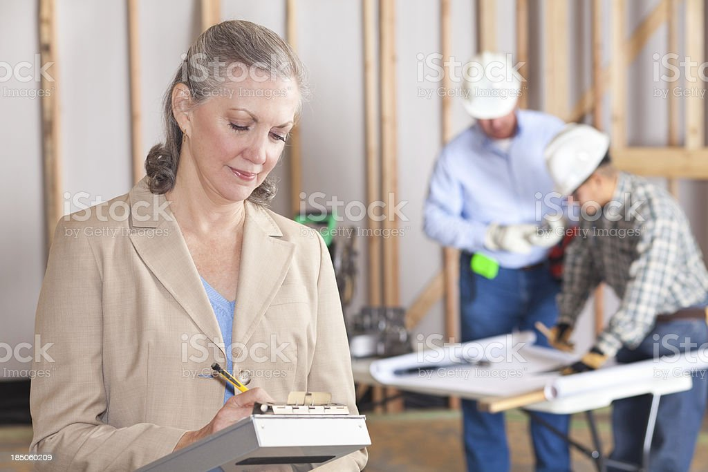 Builder executive at a construction site royalty-free stock photo