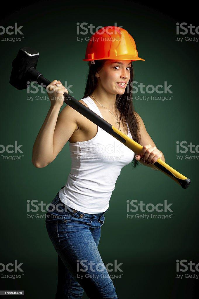 builder girl stock photo