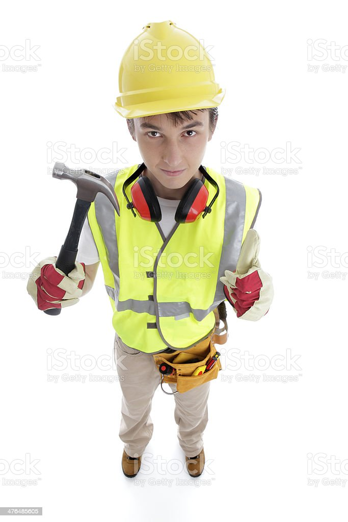 Builder holding hammer thumbs up approval success royalty-free stock photo