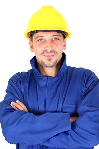 builder - jumpsuit blau stock-fotos und bilder