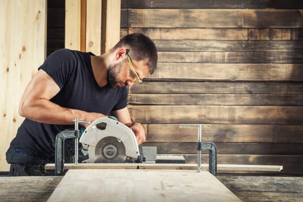 Oluşturucu bir tahta testereleri stok fotoğrafı