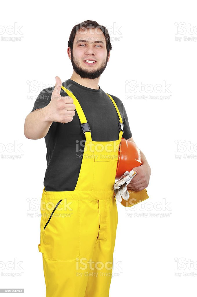 builder showing thumb up royalty-free stock photo