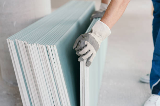 Builder taking a sheet of chip board cladding stock photo