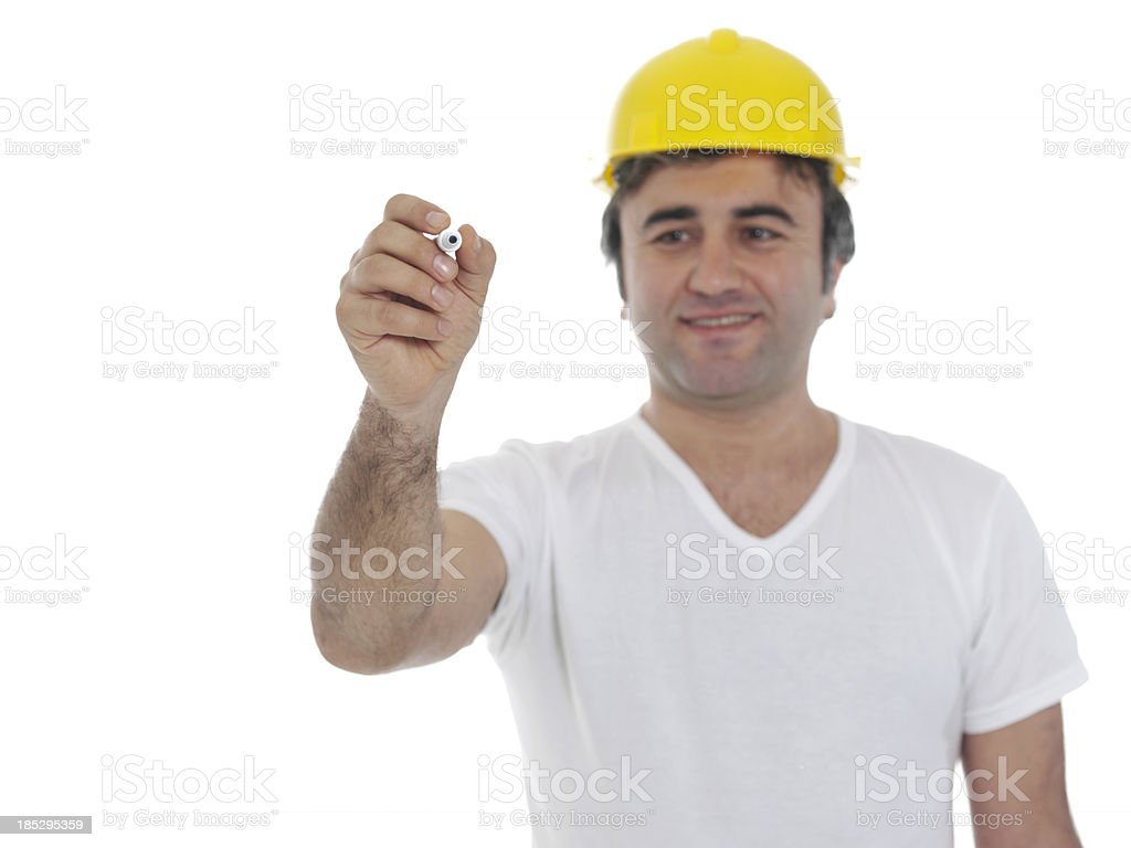 Builder with Hard Hat royalty-free stock photo