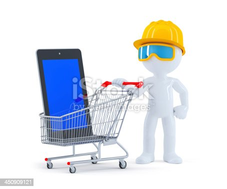 994878714 istock photo Builder with shopping cart and blank screen tablet 450909121