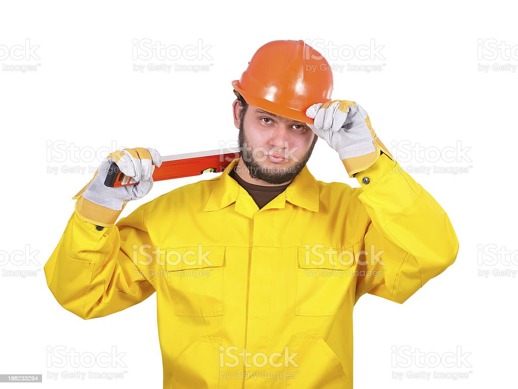 builder with wasserwaage royalty-free stock photo