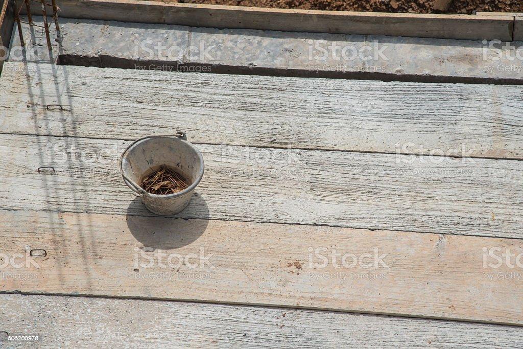 Builder worker man installing cement floor stock photo