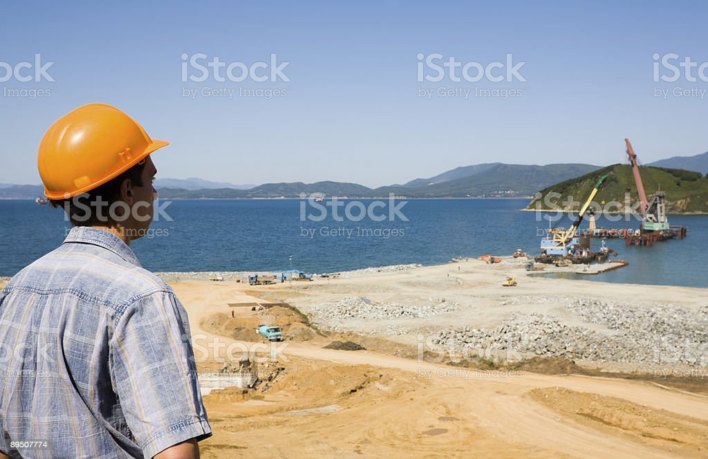 Builder.Construction of new seaport. royalty-free stock photo