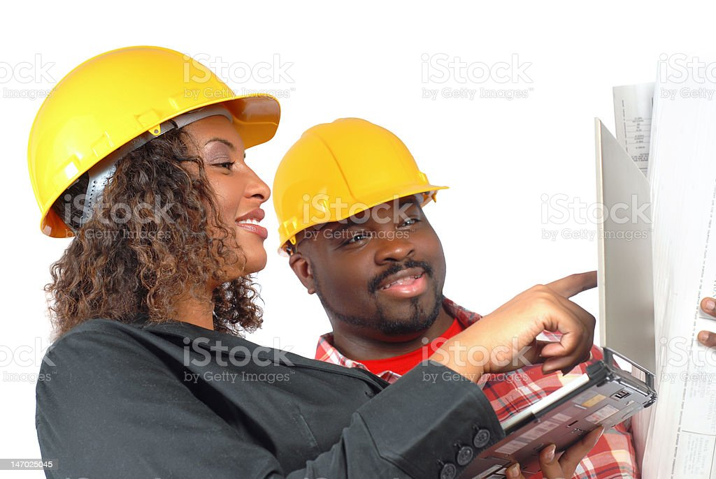 Builders talking royalty-free stock photo
