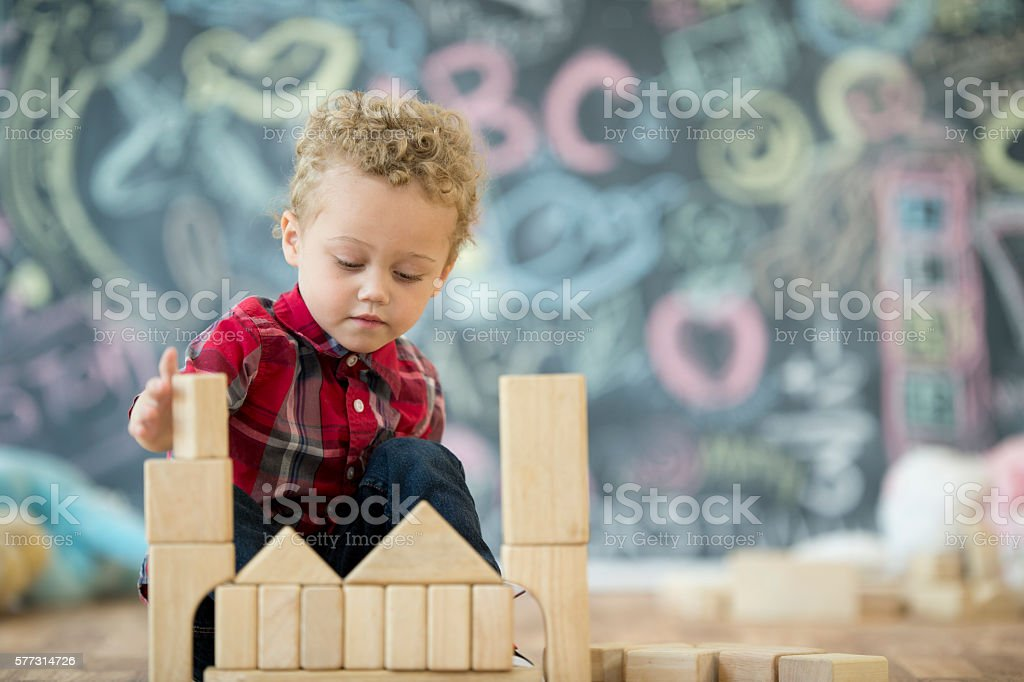 Building a Block Tower stock photo