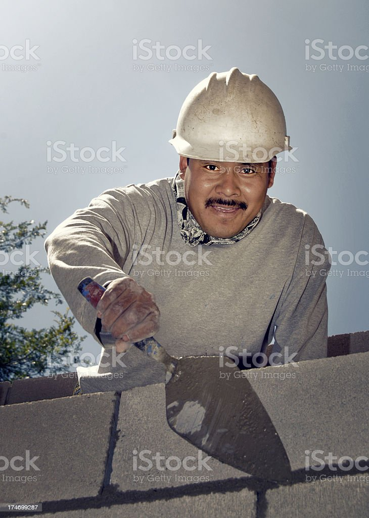 Building a block wall royalty-free stock photo