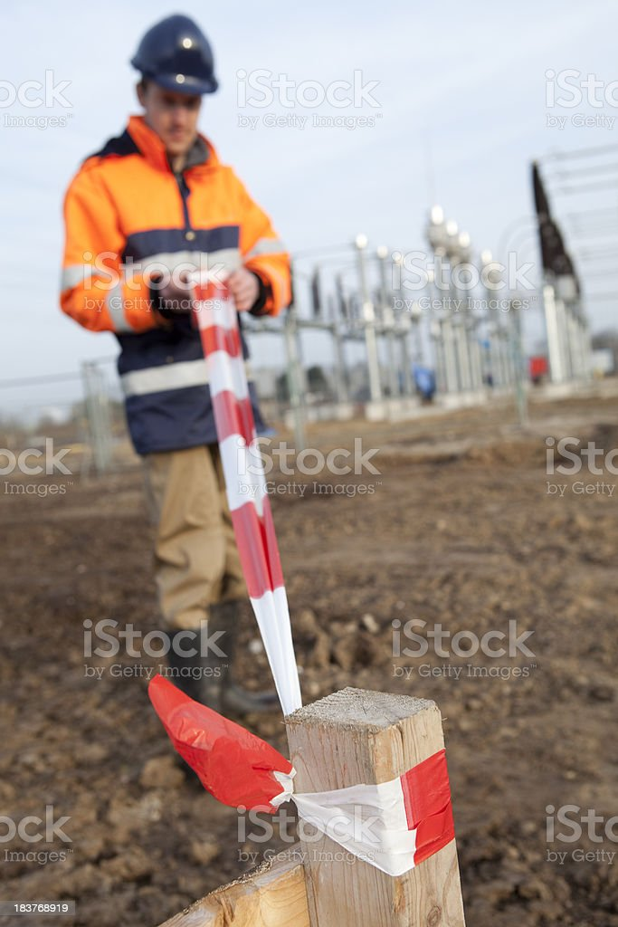 Building a electricity substation. stock photo