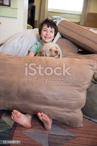 Little boy and his puppy in his living room made fort made up of pillows