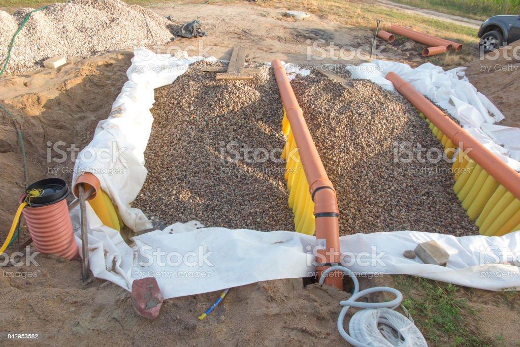 Building a ground heat exchanger stock photo