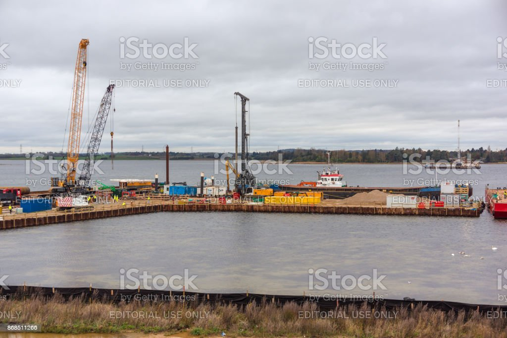 Building a highway across Roskildefjord in Denmark stock photo
