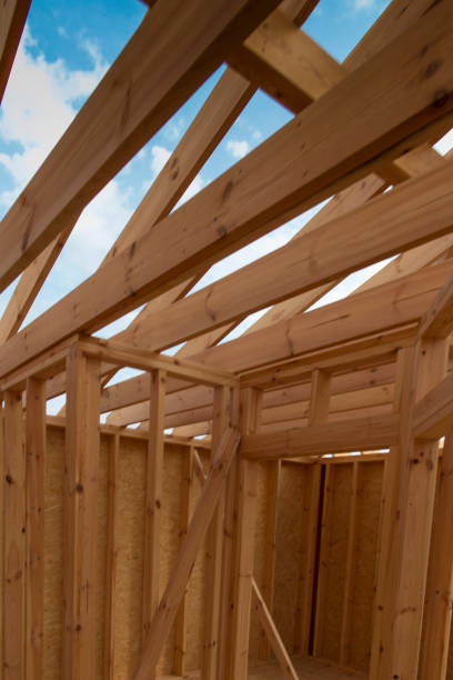 building a house in skeleton technology - disconcert stock pictures, royalty-free photos & images