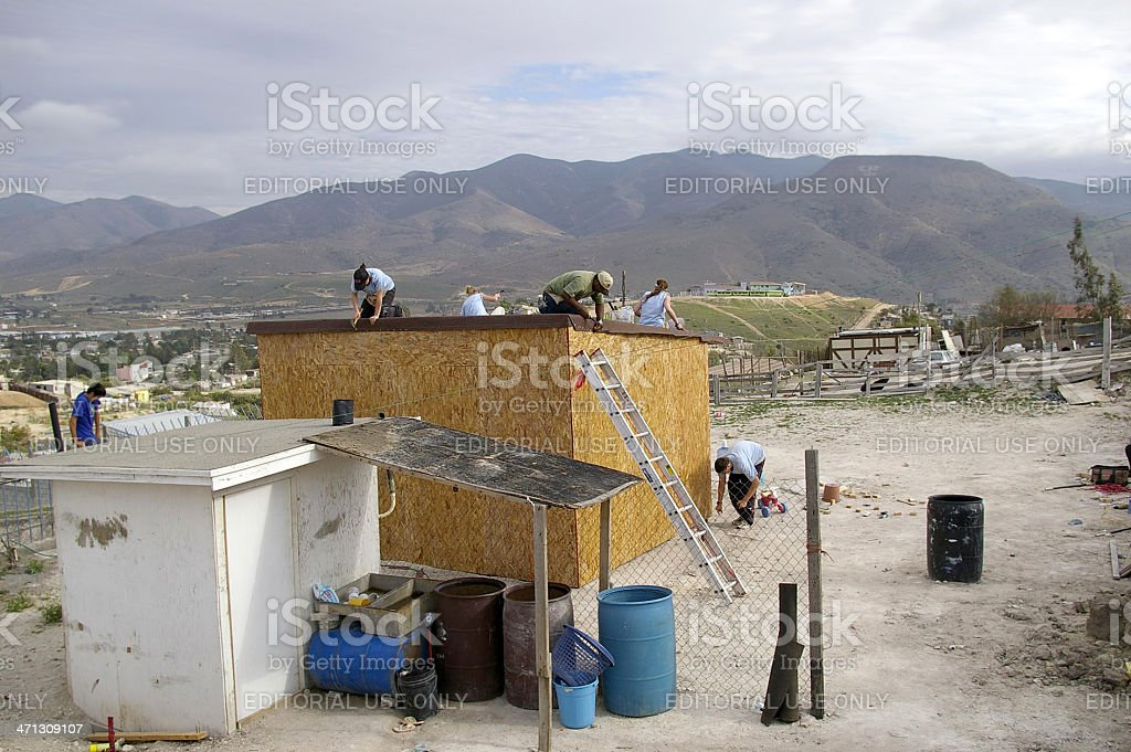 Building a House in Tijuana stock photo