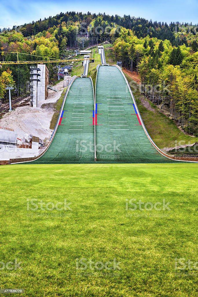Building a new Ski Flying or Jumping Hill stock photo