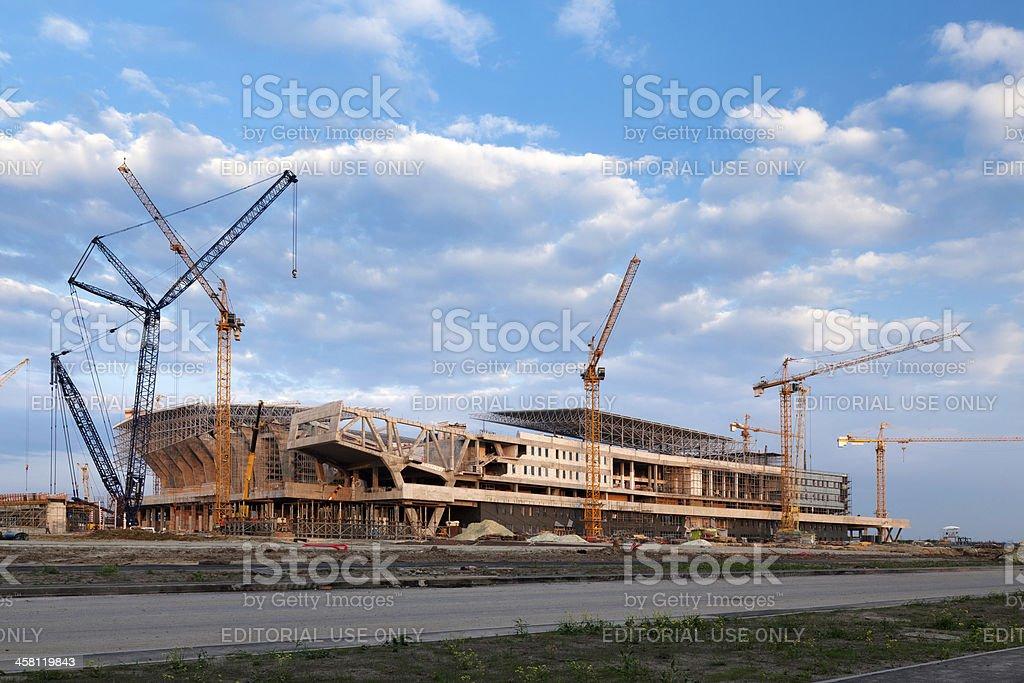 Building a new stadium royalty-free stock photo
