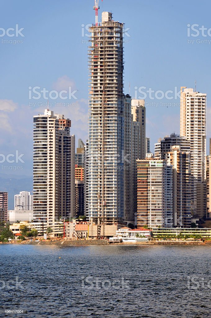 Building a skyscraper - Panama city stock photo