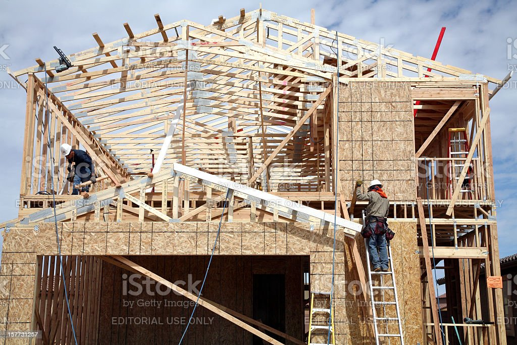 Building A Small Cost Effective Two Storey Home stock photo