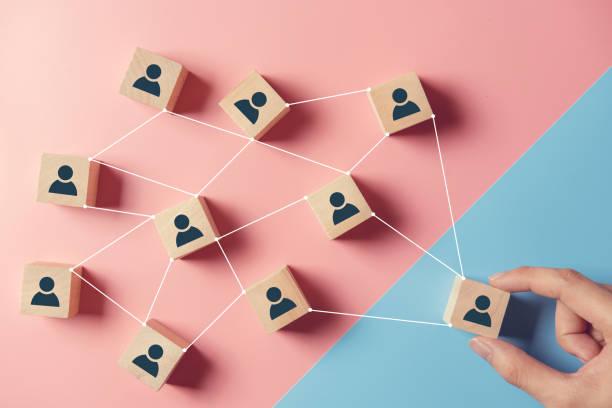 Aufbau eines starken Teams, Holzblöcke mit Menschen-Symbol auf rosa und blauen Hintergrund, Personal und Management-Konzept. – Foto