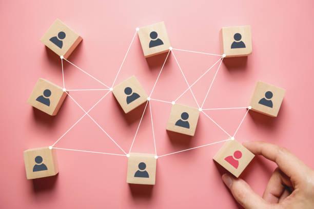 создание сильной команды, деревянные блоки с людьми значок на розовом фоне, человеческих ресурсов и концепции управления. - связь стоковые фото и изображения