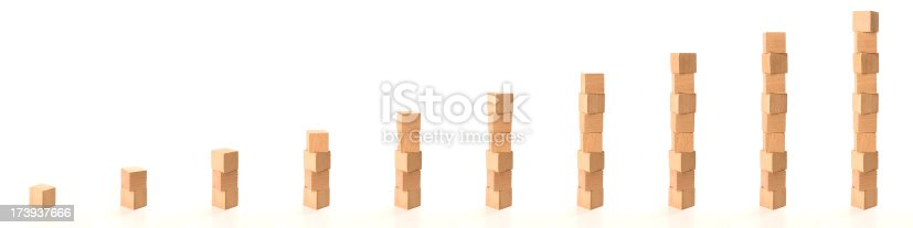 istock Building a tower of wooden blocks from 1 to 10 173937666