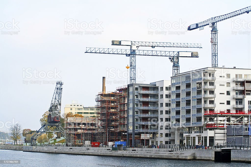 Building activity iby the water n Stockholm, Sweden royalty-free stock photo